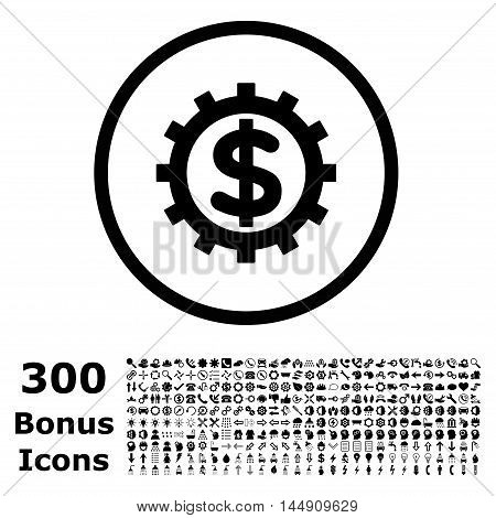 Financial Industry rounded icon with 300 bonus icons. Glyph illustration style is flat iconic symbols, black color, white background.