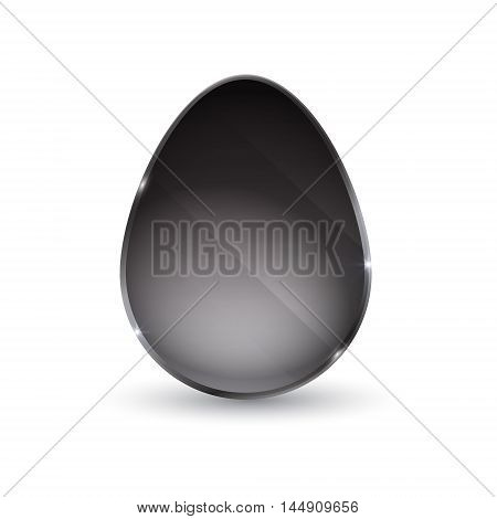 egg in the form of a glass. Egg Icon. black glossy button