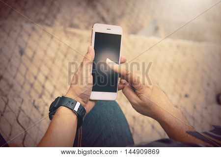 Man playing telephone. fantasy photo effect. Business dealings are With telephone
