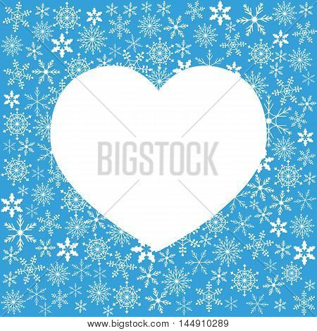 Winter Illustration With Variety Of Snowflakes And White Heart Shape For Your Text.