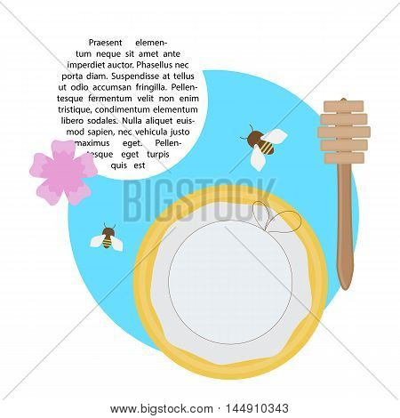 vector illustration with flat elements of bees and honey