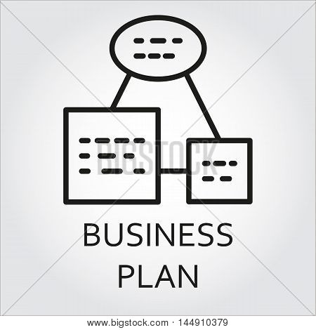 Black flat line vector icon with a picture of business plan as scheme on white background.