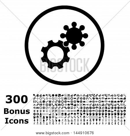 Gears rounded icon with 300 bonus icons. Glyph illustration style is flat iconic symbols, black color, white background.