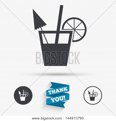 Cocktail sign. Alcoholic drink symbol. Flat icons. Buttons with icons. Thank you ribbon. Vector