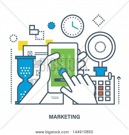 Concept of mobile marketing - the mobile phone application store building in the background. Color Line icons. Flat Vector illustration