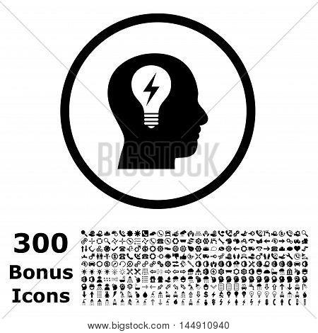 Head Bulb rounded icon with 300 bonus icons. Glyph illustration style is flat iconic symbols, black color, white background.