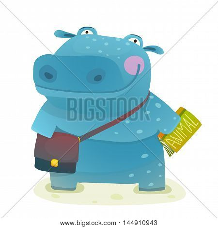 Happy fun watercolor style pupil animal reading and studying cartoon illustration. Vector drawing.