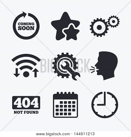 Coming soon rotate arrow icon. Repair service tool and gear symbols. Wrench sign. 404 Not found. Wifi internet, favorite stars, calendar and clock. Talking head. Vector