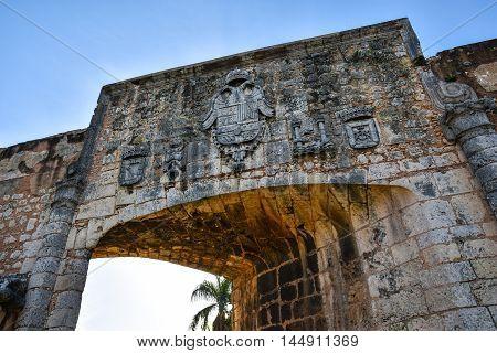 Door of Alcazar de Colon (Diego Columbus residence). Entrance to Spanish Square, Plaza de Espana. Santo Domingo, Dominican Republic