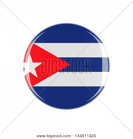 cuba 3d button isolated on white background