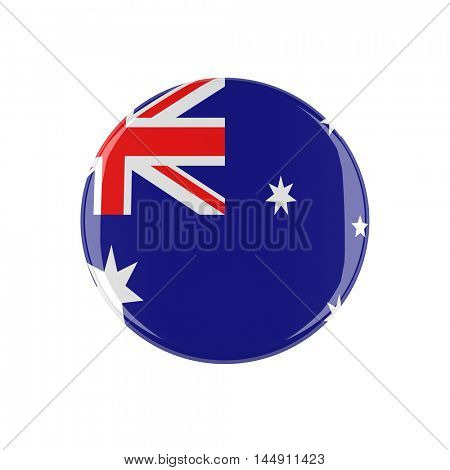 australian 3d button isolated on white background