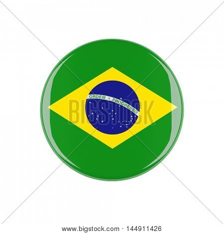 brazil 3d button isolated on white background
