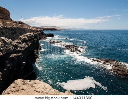 Coast near Ajuy village on Fuerteventura island in Spain