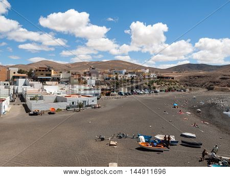 FUERTEVENTURA, SPAIN - SEPTEMBER 16, 2015: black sand beach in Ajuy Fuerteventura Canary Islands Spain