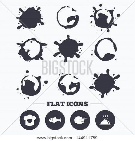Paint, coffee or milk splash blots. Chief hat with heart and cooking pan icons. Fish and chicken signs. Hot food platter serving symbol. Smudges splashes drops. Vector