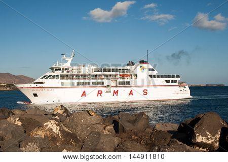 LANZAROTE, SPAIN - SEPTEMBER 9, 2016: Canary Island Ferry Sails from Playa Blanca Lanzarote and Corralejo Fuerteventura