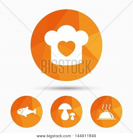 Chief hat with heart and cooking pan icons. Fish and boletus mushrooms signs. Hot food platter serving symbol. Triangular low poly buttons with shadow. Vector
