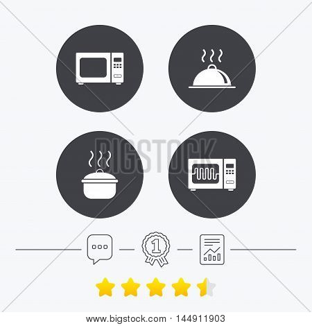 Microwave grill oven icons. Cooking pan signs. Food platter serving symbol. Chat, award medal and report linear icons. Star vote ranking. Vector