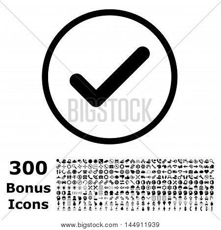 Ok rounded icon with 300 bonus icons. Glyph illustration style is flat iconic symbols, black color, white background.