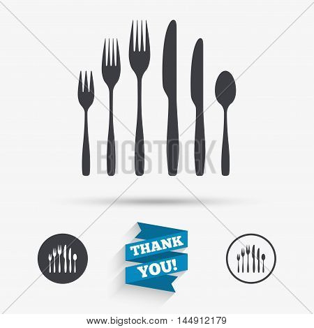 Dessert fork, knife, teaspoon sign icon. Cutlery collection set symbol. Flat icons. Buttons with icons. Thank you ribbon. Vector