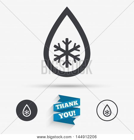 Defrosting sign icon. From ice to water symbol. Flat icons. Buttons with icons. Thank you ribbon. Vector