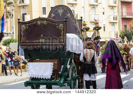 SELARGIUS, ITALY - September 13, 2015: Former marriage Selargino - Sardinia - marriage bed brought in parade