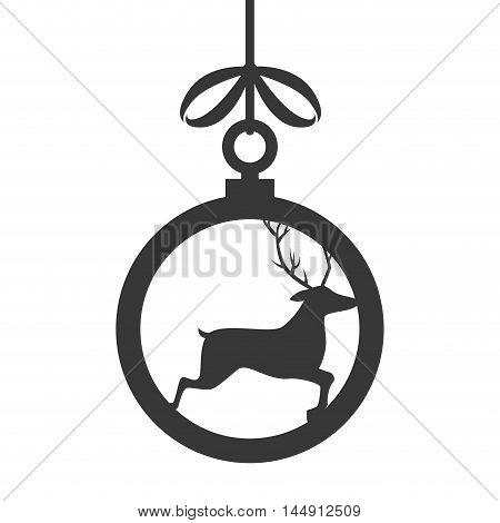 deer ball ribbon hanging christmas season decoration vector illustration