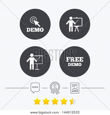 Demo with cursor icon. Presentation billboard sign. Man standing with pointer symbol. Chat, award medal and report linear icons. Star vote ranking. Vector