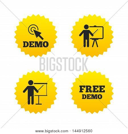 Demo with cursor icon. Presentation billboard sign. Man standing with pointer symbol. Yellow stars labels with flat icons. Vector