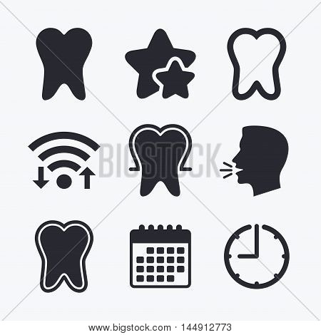 Tooth enamel protection icons. Dental care signs. Healthy teeth symbols. Wifi internet, favorite stars, calendar and clock. Talking head. Vector