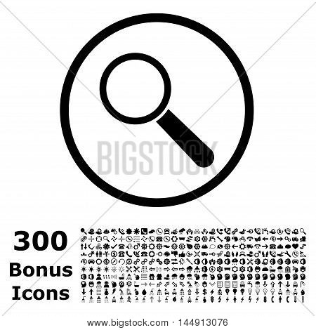 Search Tool rounded icon with 300 bonus icons. Glyph illustration style is flat iconic symbols, black color, white background.