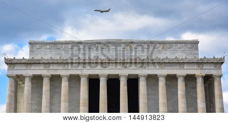 WASHINGTON DC, DECEMBER 19: Front view of Lincoln Memorial with the names of American States. Taken in December 19 2015 in Washington DC, USA.