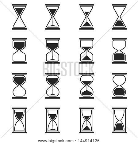 Sandglass and hourglass vector icons. Sandglass clock, hourglass clock, time glass illustration