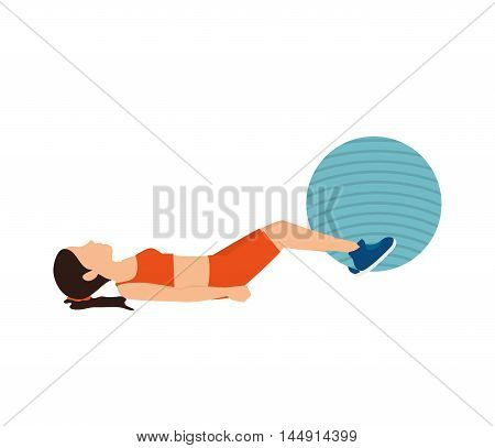 girl training ball fitness stretching lifestyle stretching vector illustration