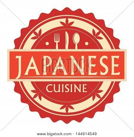 Abstract stamp or label with the text Japanese Cuisine written inside, traditional vintage food label, with spoon, fork, knife symbols, vector illustration