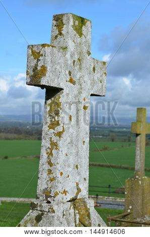 Stone crosses in the burial ground outside of the Rock of Cashel.