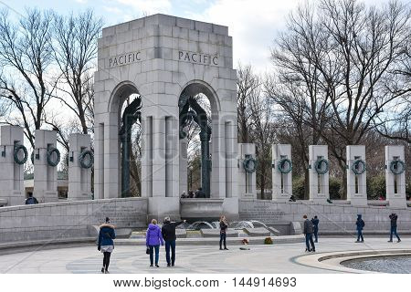 WASHINGTON DC, DECEMBER 19: World War II Memorial, this is the Pacific side. Shot at December 19 2015, in Washington DC, USA.