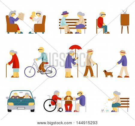 Senior lifestyle icons. Man and woman elderly, senior people, couple person, play card, feeding pigeon, babysit and watch tv. Vector illustration