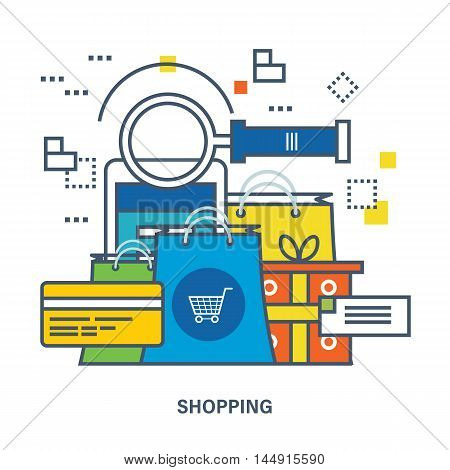 Concept of shopping, mobile marketing and payment methods. Color Line icons. Flat Vector illustration