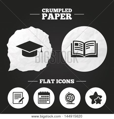 Crumpled paper speech bubble. Pencil with document and open book icons. Graduation cap and geography globe symbols. Learn signs. Paper button. Vector