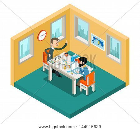 Creative collaboration. Businessmen team working in office isometric 3d concept. Team meeting businessman, collaboration people teamwork, vector illustration