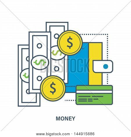 Concept of money and payment methods. Color Line icons. Flat Vector illustration