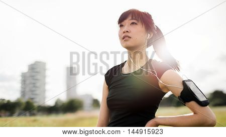 Fitness Woman Standing In Urban Park