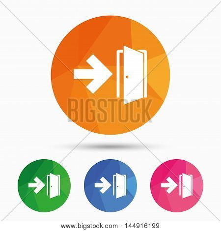 Emergency exit sign icon. Door with right arrow symbol. Fire exit. Triangular low poly button with flat icon. Vector