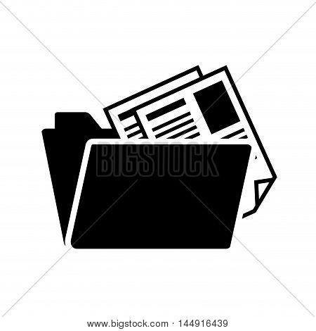 folder file documents data archive silhouette vector illustration