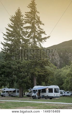 Otago, New Zealand - February 2016 : Motorhome Campers At Lake Hawea Holiday Park, South Island Of N
