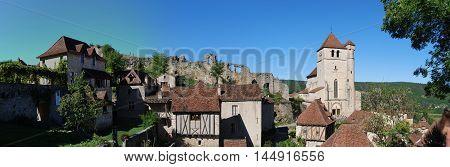 Lot Lapopie Stud Ruins Church Houses Panoramic View