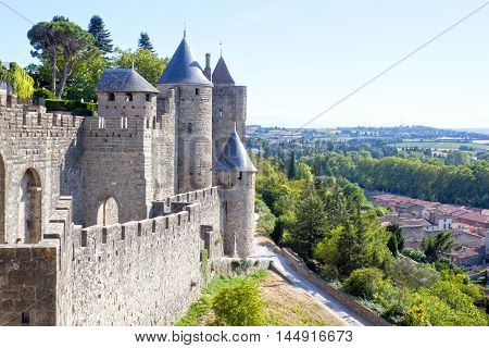 Carcassonne City And A View Of The Village In France