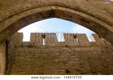Tower In Carcassonne City View Through A Window In France