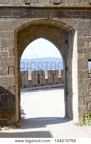 Tower Of Carcassonne City View Through A Door In France